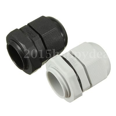 10x 20x M20 20mm Black & White Waterproof Compression Cable Stuffing Gland Lock