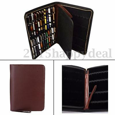 48 Pens Brown Color PU Leather Fountain Pen/Roller Pen Holder Bag Storage Case