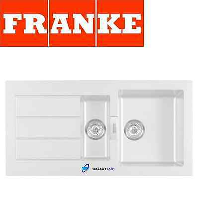 Franke Sirius White Tectonite 1.5 Bowl Square Kitchen Sink Drainer Overflow