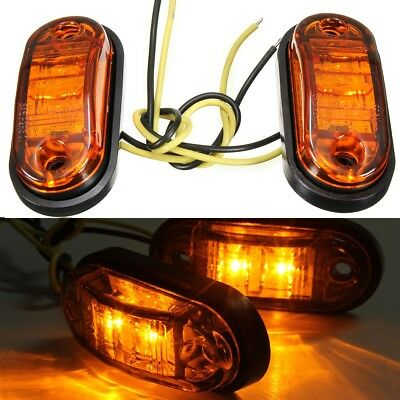 2x 12/24V amber LED Side Marker Indicator Light Lamp Caravan Truck Trailer Lorry