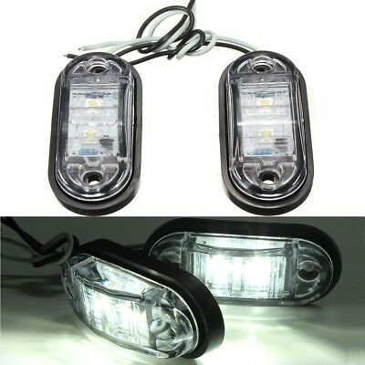 2x 12/24V white LED Side Marker Indicator Light Lamp Caravan Truck Trailer Lorry