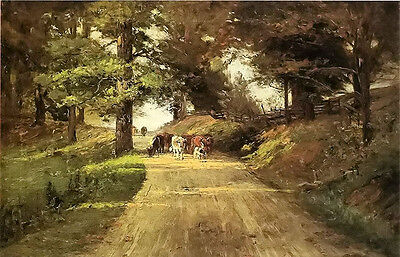 Oil painting Theodore Clement Steele - an indiana road with cows in landscape @@