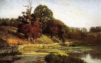 Oil painting Theodore Clement Steele - the oaks of vernon with animals by lake