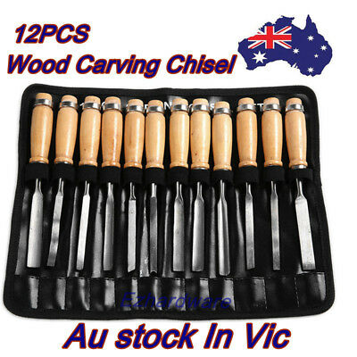 "12Pc Piece Wood Carving Chisel Set 8"" Wood Chisel Woodworking Tool"