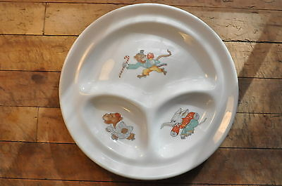 Vintage Babar the Elephant rollerskating Hippo and Monkey Baby/Child Chop Plate