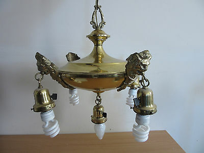 Fancy 1930s Antique Brass Art Deco 5 Light Chandelier with Lion Heads