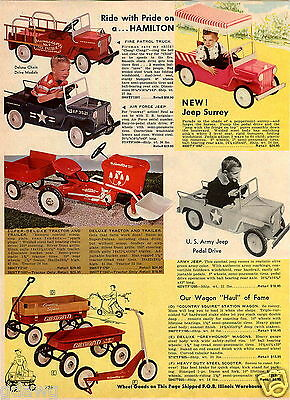 1965 PAPER AD Pedal Car Hamilton Air Force Jeep Surrey Fire Truck Army Tractor