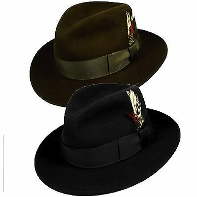 100%wool made inUSA Godfather City hat satin lined western cowboy Mobster  Black 5b843fa406d1