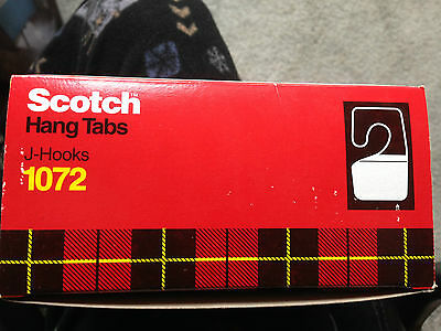 Carton of 3M Scotch hang tabs 1072  J-Hooks 500 pieces