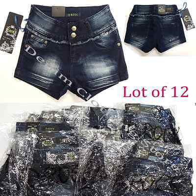 Wholesale Lot of 12 Women Dark Blue Wash Stretch Denim Shorts Size 0 to 17