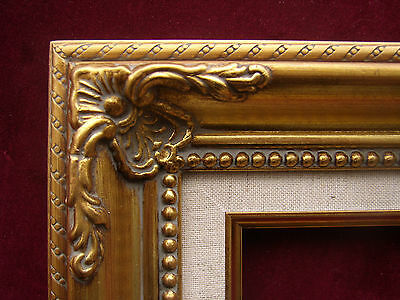 Pair Of Two Fancy Ornate Gold Linen Liner Portrait Photo Picture Frames 12x16
