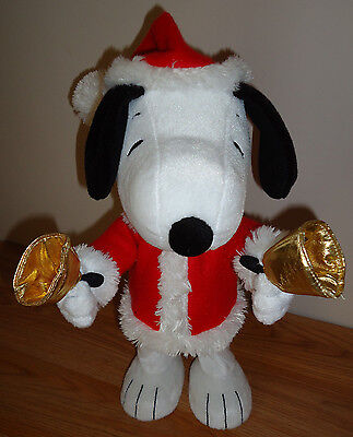 "Hallmark PEANUTS SNOOPY Christmas Bell Ringer Musical Motion 12"" Plush"