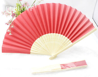 10 x Red Summer Ladies Hollow Outdoor Folding Colorful Paper Hand Fans Wedding