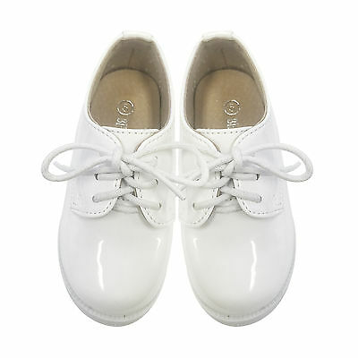Kids Boys Formal Shoes Lace Up Wedding Pageboy White Shining Upper SZ 2-10 8811