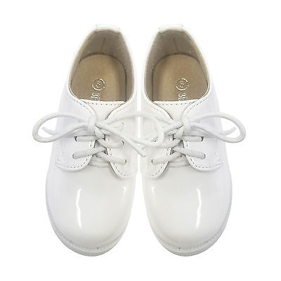 NEW Kids Boys Formal Shoes Lace Up Wedding Pageboy White Shining Upper SZ 2-10