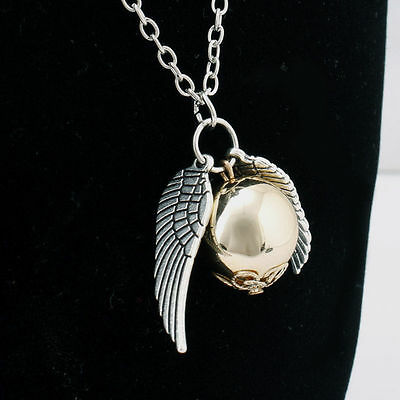 New Harry Potter Golden Snitch Necklace with Angel Wings Gold Silver