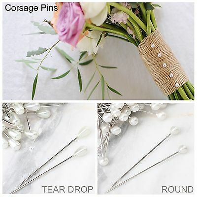 24x Pearl Head Pin Wedding Bouquet Corsage Floral Florist Pins Decoration