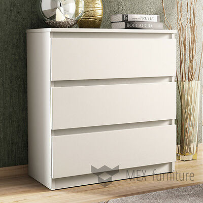 Modern White Chest of Drawers 3 Drawer Bedroom Furniture Cabinet   Free Shipping