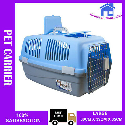 Large Pet Cat Dog Rabbit Kitten Carrier Kenel Foldable Travel Transport Cage Vet