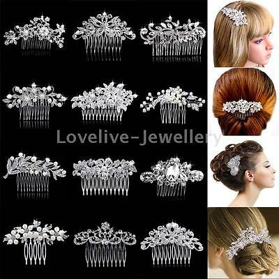 Wedding Bridal Leaf Flower Hair Combs Diamante Pearl Crystal Slide Clip Tiara