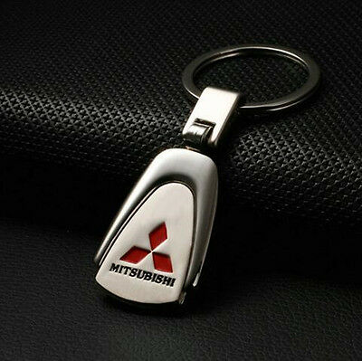 Mitsubishi Chrome Embossed Stainless Steel Car Key Ring Keyring Chain Alloy Zinc