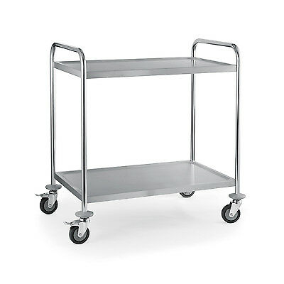 2 Tier Stainless Steel Serving / Clearing / Catering Trolley
