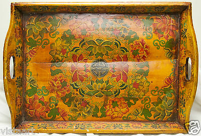 """Beautiful Antique Wooden Tray w. Hand Painted Flower & Leaf Designs- 22""""x30"""""""