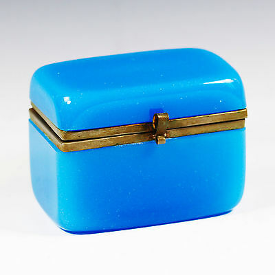 ANTIQUE Napoleon  FRENCH Blue opaline glass jewelry or trinket hinged BOX ORMOLU