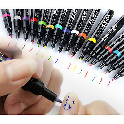 16Colors Uv Gel Polish Manicure Nail Art Pen Pencil Painting Drawing Design Tool