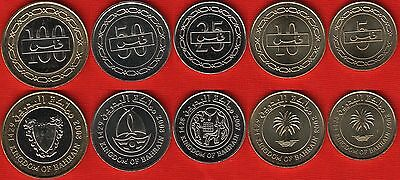 Bahrain set of 5 coins: 5 - 100 fils 2007-2008 UNC