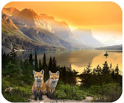 Mouse Pad Custom Thick Mousepad-Mountains At Sunset With Fox- Add Any Text Free