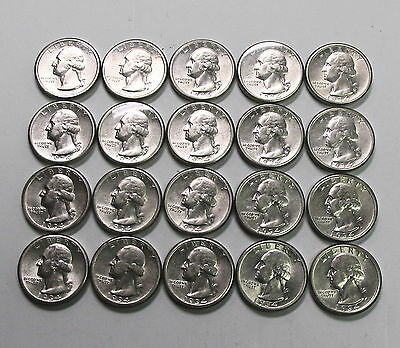 (20) 1934 Philadelphia Washington Quarter .25C Coin Set Silver