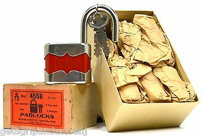NOS! Vintage EAGLE PADLOCKS No. 4558 Original Box of 6 GERMAN-STYLE Red Japanned