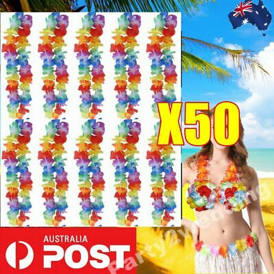 50 Pcs Hawaiian Party Flower Lei Leis For Hula Costume Dress 105cm