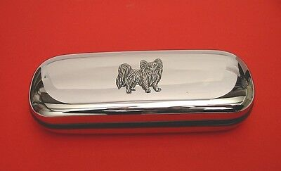 Papillon Dog Pewter Motif On Chrome Glasses Case Mother Father Papillon Dog Gift