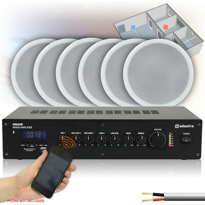 6x Speakers Bluetooth Amp 100V Line Cafe Bar Multizone Background Music System