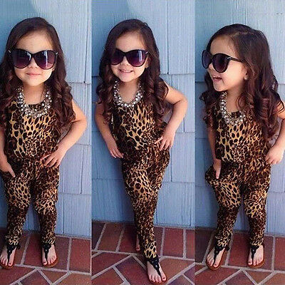 2-7Y Baby Girl Kids Short Sleeve Clothes Leopard Jumpsuit Romper Trousers Outfit