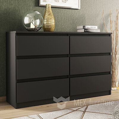 Modern Black Chest of Drawers - 6 Drawers Bedroom Furniture Cabinet   Sideboard