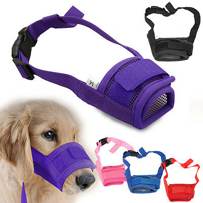 Dog Safety Muzzle Muzzel Adjustable Biting Barking Chewing Small Medium Large UK