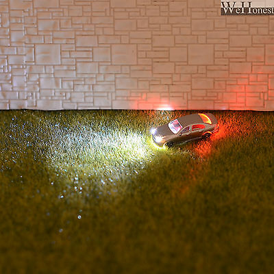 10 x Z Scale Model Train Scenery Lighted Cars with Head Lights and Tail Lights