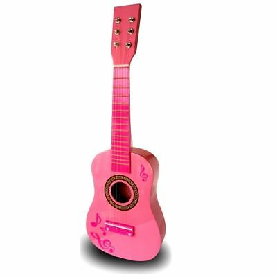 "23"" Childrens Girls Wooden Acoustic Guitar Musical Instrument Pink Toy Xmas Gift"