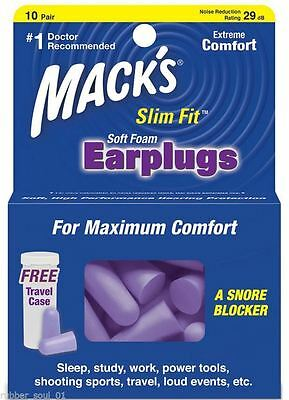 Macks SafeSound Slim Fit Soft Foam Ear plugs x 10 Pair Pairs Earplugs