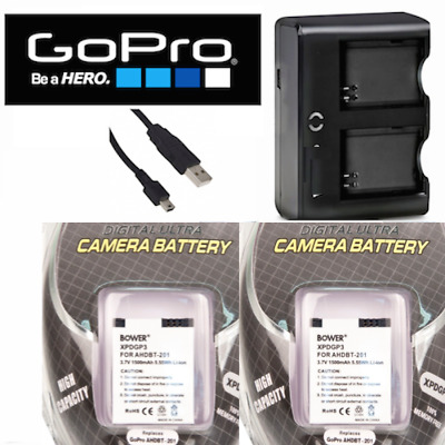 2 PCS Battery for GoPro HD Hero3 SILVER / AHDBT-302 301 + Dual Charger FAST SHIP