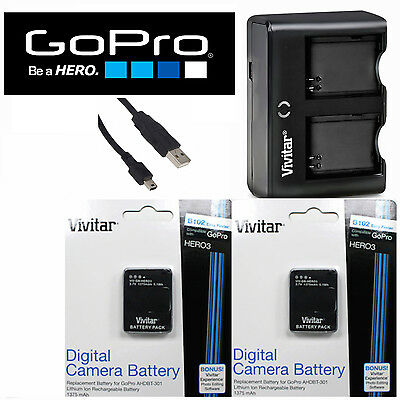 2 PCS Battery for GoPro HD Hero3 BLACK / AHDBT-302 301 + Dual Charger FAST SHIP