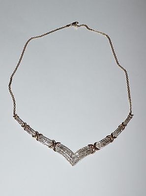 Signed Sun Sterling Silver An Diamonds Gorgeous Necklace