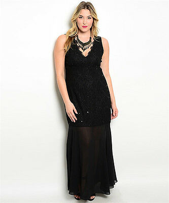 0c0058cad Plus Size Sequin Lace Long Evening Gown Formal Prom Dress Cocktail 1X2X3X  141618