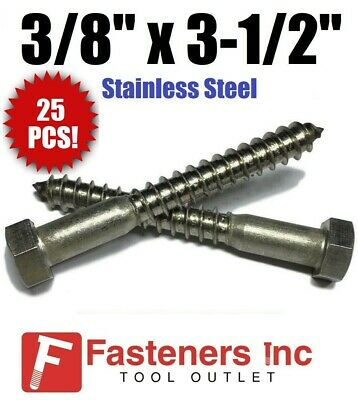 1//2 x 6 Qty-25 Hex Lag Screws 18-8 Stainless Steel