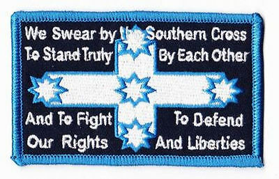 Embroidered Iron On Cloth Biker Patch ~ Eureka We Swear By The Southern Cross. ~