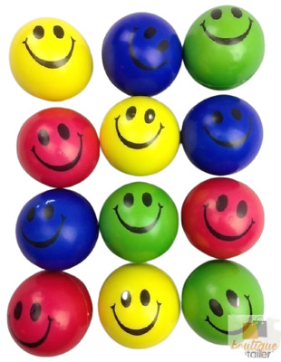 12x STRESS BALLS Hand Relief Squeeze Toy Reliever Antistress Soft Smiley MULTI