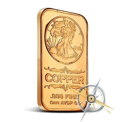 1 oz Copper Bar - Walking Liberty 999 Copper Bullion Bar